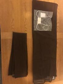 Brown voile curtains & metal tie backs - NEW