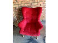 Velvet Red Wingback Armchair Upholstered