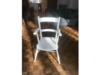 Vintage white wooden desk chair