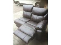 Leather 2 seat sofa recliner, new. part of corner unit