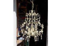 Lovely little chandelier, leaf motif with crystal drops.