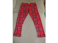 GIRLS TARTAN M&S TROUSERS, SIZE 9-10,