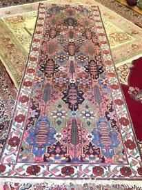 Vintage handmade wool rug runner