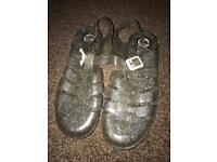 Silver Glitter Juju Jellies / Jelly Sandals Size 6