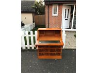 Lovely Vintage Yew Wood Writing Desk Bureau with Green Leather Top Inlaid & Original Key