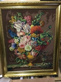 Large tapestry bowl of flowers