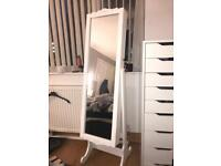 White Free Standing Mirror with Lockable Cabinet