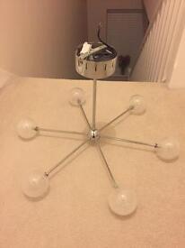 6 bulb ceiling light. Chrome and glass