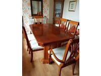 Solid Wood Polished Extending Dining Table & 6 Chairs