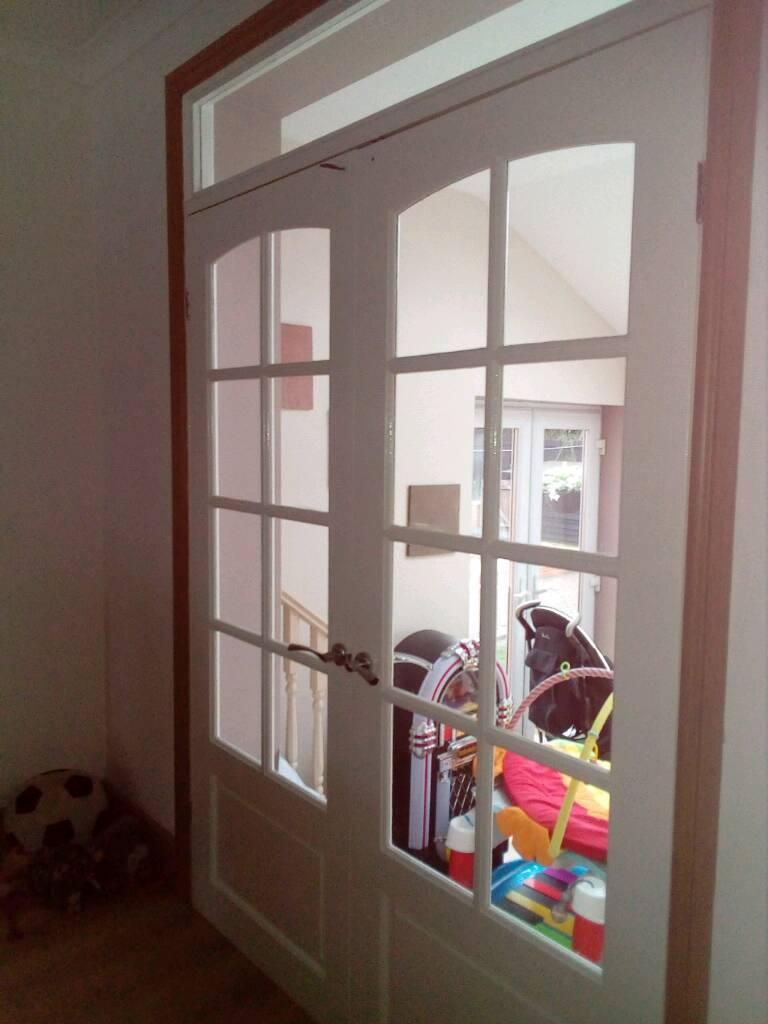 Solid Wood French Doors Internal Gloss White In Gateshead Tyne