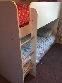 White wood bunk bed with drawer