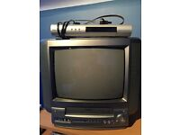 Television. Freebies box. Built in VCR