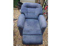 Details about Parker Knoll Blue Fabric Electric Rise & Recliner Armchair GWO Clean & Presentable