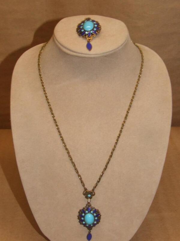 VTG Art Deco Filigree Brass Blue Enamel & Glass Pendant Necklace Brooch Neiger ?