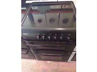Beko ceramic electric cooker , fan assisted oven and grill, 60 cm wide , black colour,