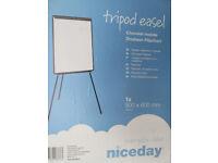 Tripod Tripod Easel Whiteboard Flipchart Holder (New/unused) includes flipchart pad of 40 sheets.
