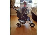 Graco pram with car seat base for car, 2raincovers, foot muff, changing mat, head cushions,mirror