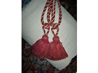 LARGE CURTAIN TIE BACKS : RED & GOLD
