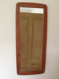 Long mirror with teak frame