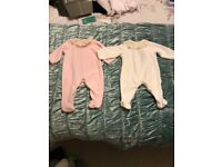 Spanish baby grows x2 cream and pink 3 months