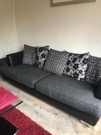 4 seater sofa, cuddle chair and 2 glass tables