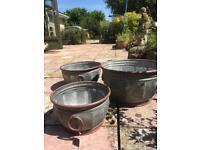 Vintage look set of three garden planters