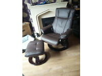 massage swivel arm chair with foot stool