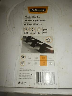 Fellowes 50 Plastic Binding Combs 1 - 1 12 38mm Black