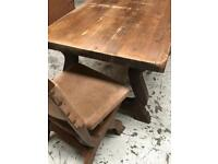 Chunky table with comfortable chairs.