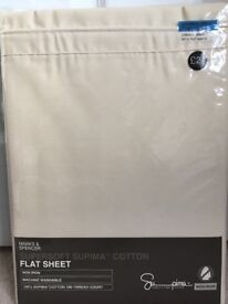 Double Bed Sheet - Super Soft Supima Cotton - Marks and Spencer - Brand New in Packet - Cream