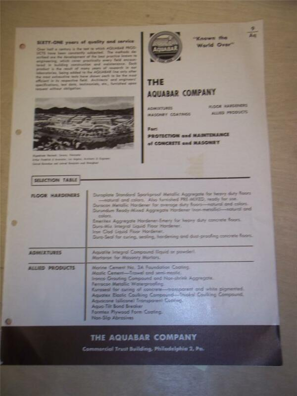 Aquabar Company Catalog~Asbestos Marine Cement/Foundation Coating~1962