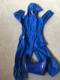 Gelert Blue Puddle suit and M&S Wellingtons