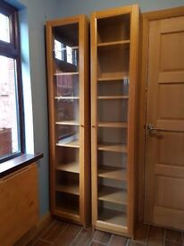 2 ikea Billy bookcases, oak veneer