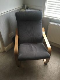 Ikea armchair grey and wooden