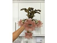 Original Christopher Wray London brass ceiling light with 4 rose glass shades
