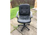 Black leather adjustable office chair. Good condition