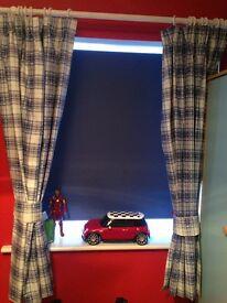 Blue gingham blackout curtains 168x137 cm