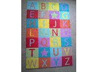 Kids ABC Alphabet multi coloured block rug carpet childrens bedroom furniture decor baby CAN DELIVER
