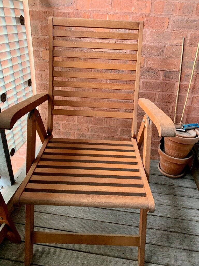 2 x solid wood reclining garden chairs - good condition ...