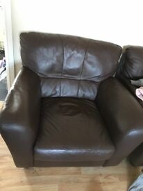 Sofa, 2 chairs and footstall