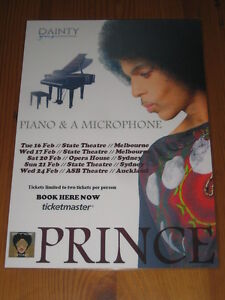 PRINCE - 2016 PIANO MICROPHONE AUSTRALIAN TOUR -  LAMINATED TOUR POSTER
