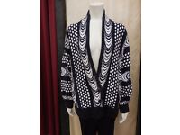 Blue and white cotton knitted jacket - size Large