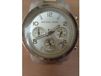 Ladies Michael Kors Watch (Marble and Cream Strap) Chronograph