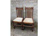 VICTORIAN CHAIRS PAIR GENUINE FREE DELIVERY VINTAGE /ANTIQUE