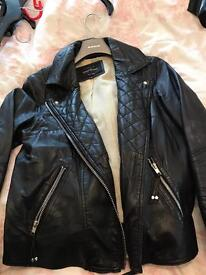 River island real leather jacket size 10