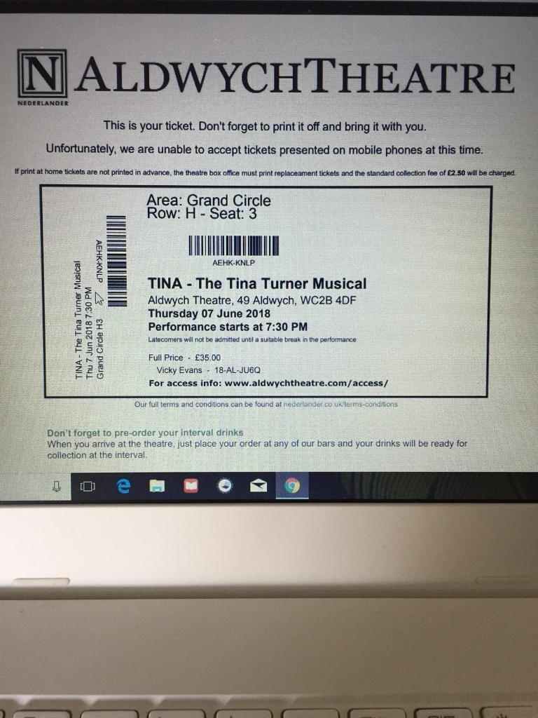 Tina Turner Musical - 4 Tickets - Seat together