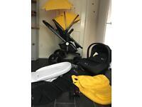 silver cross surf 3 pram pushchair travel system 3in1 buggy stroller yellow unisex simplicity car se