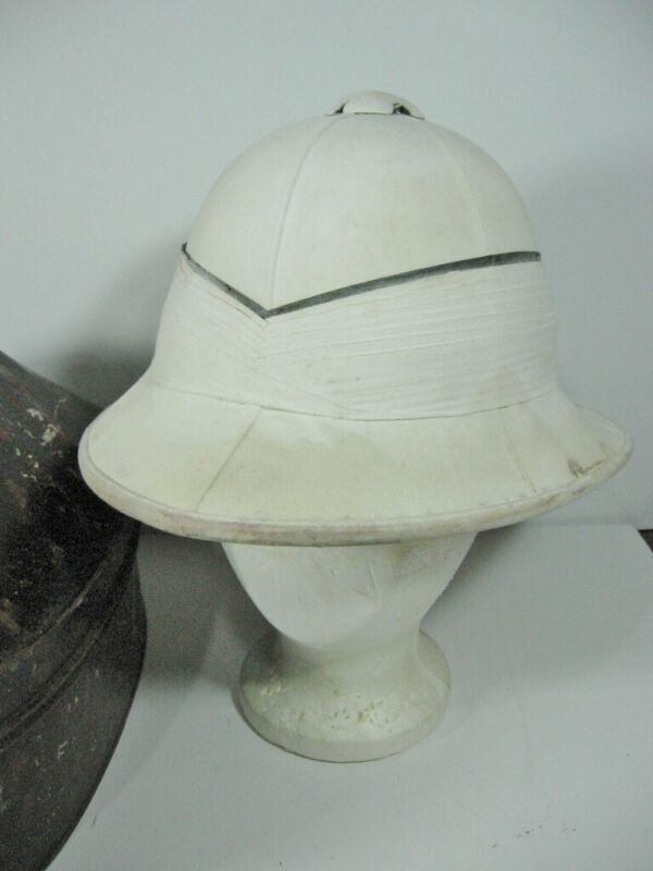 Authentic WWI Royal Navy Pith Helmet with Storage Tin Named JSE Rogers (11M)