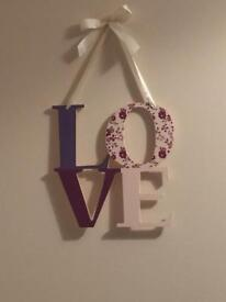 Hanging love sign