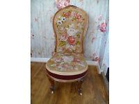 Antique Nursing/Salon Chair: Walnut with original Tapestry